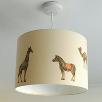 Circus animals 30cm drum lampshade