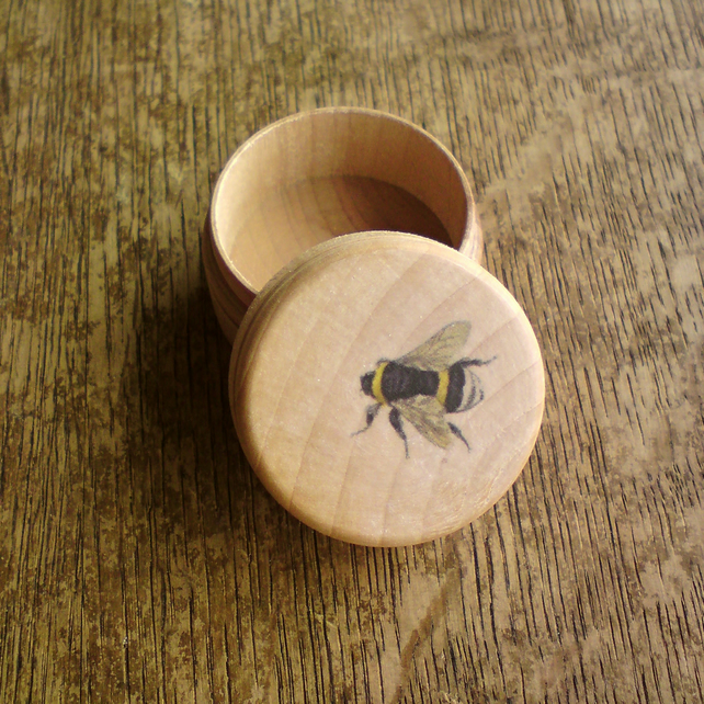Bumble Bee Wooden Pill Box Folksy