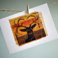 Stag in field from original linocut