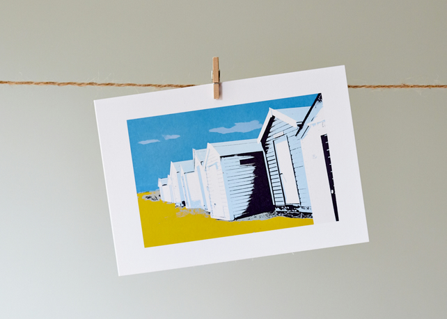 'Southwold beach huts' greetings card