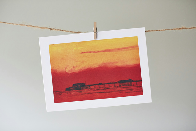 'Worthing Pier Sunset' greetings card
