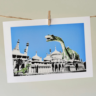 'Dippy Goes To Brighton' greetings card