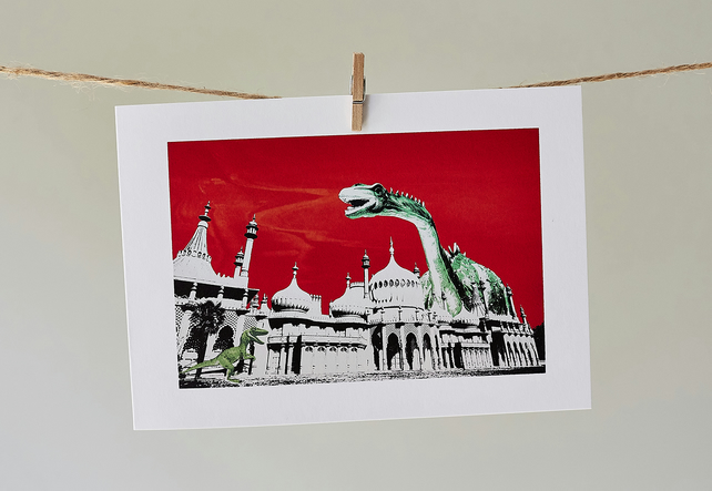 'Dippy Goes To Brighton Red Sky' greetings card