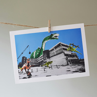 Teville Gate Dinos with blue sky greetings card