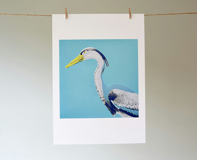 'Harold Heron' giclée print from an original screen print