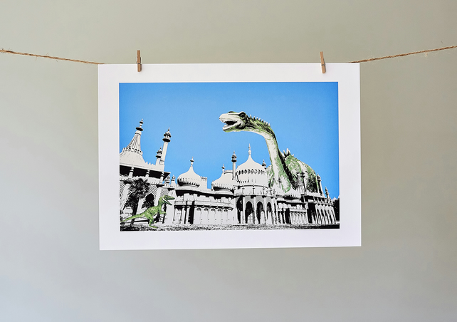 Dippy Goes To Brighton A4 giclée print