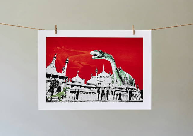 Dippy Goes To Brighton Red Sky A4 giclée print
