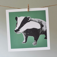 Bramble the Badger Green greetings card