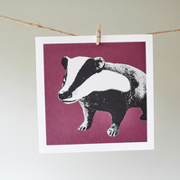 Bramble the Badger berry greetings card