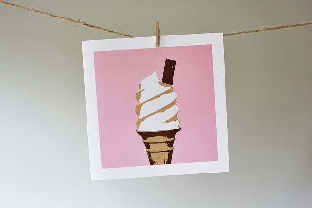Pink Ice Cream blank greetings card