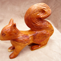 red squirrel, wood carved