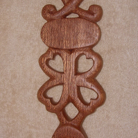 carved wooden welsh lovespoon, love spoon, good luck or fortune, INSCRIBED FREE