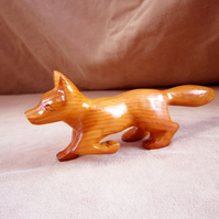 fox, hand carved in yew