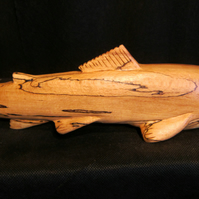 hand carved salmon from spalted beech
