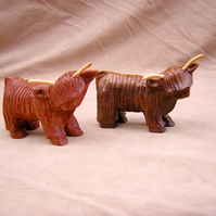 highland cow, coo ,hand carved