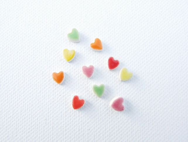 Tiny heart earrings, colourful ceramic