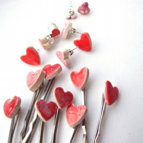 Heart bobby pins, red and pink, Valentine's gift for Her