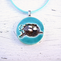 Birds Nest necklace turquoise glazed ceramic
