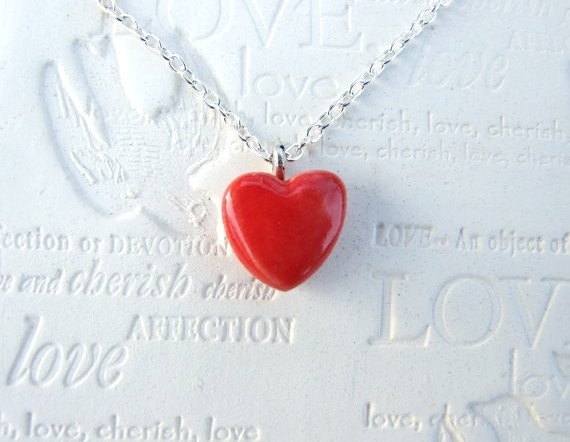 Red Heart necklace, silver plated chain