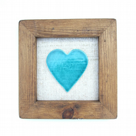 Turquoise heart picture, Anniversary, house warming