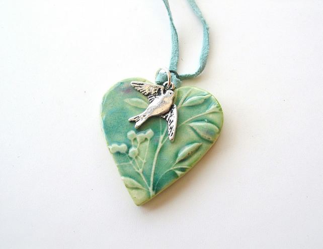 Heart necklace green turquoise glazed, little swallow