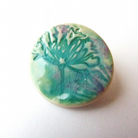 Brooch green turquoise glazed agapanthus, for garden lovers