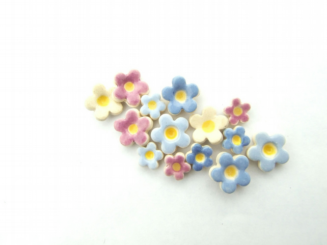 Forget-me-not earrings, ceramic stud posts