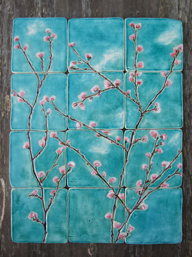 Handmade Ceramic tiles cherry blossom