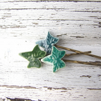 Ivy leaf bobby pin, green glazed ceramic