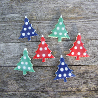 Christmas Tree earrings, polka dots, blue, green or red