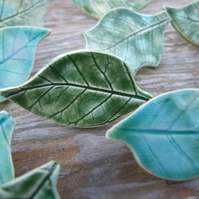 green glazed ceramic leaf brooch