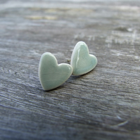 Grey Jade Heart Earrings