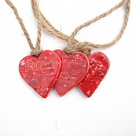 3 Red Heart Decorations, Christmas, Valentines