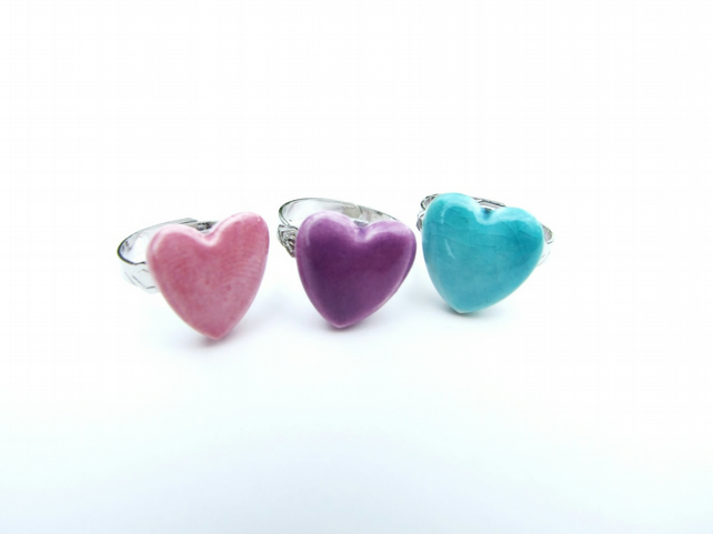 Heart ring, purple, turquoise, silver plated adjustable