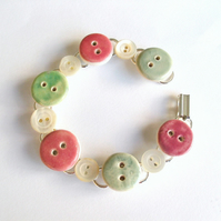 Pastel button bracelet, ceramic and vintage buttons
