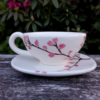 Tea cup and saucer, cherry blossom