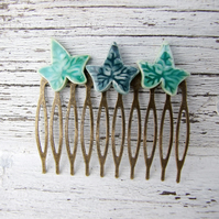 Ivy hair comb, green glazed ceramic