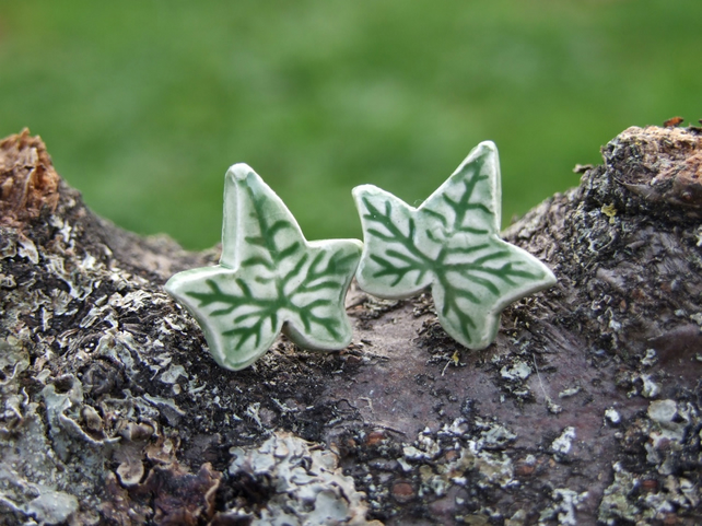Ivy earrings, green glazed ceramic