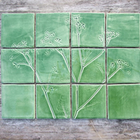 Cow Parsley Handmade Ceramic tiles