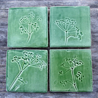 Cow Parsley Handmade Ceramic tile