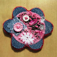 flower collage brooch