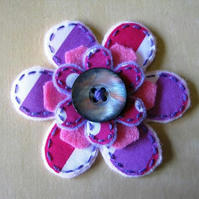 flower brooch - hot pink stripes