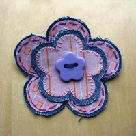 PIF: orange stripe flower brooch