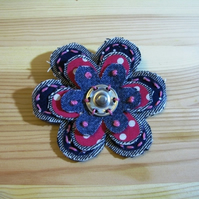 denim and pink brooch