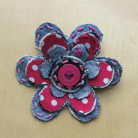 hot pink and denim fabric flower brooch
