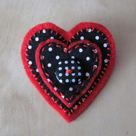 fabric heart brooch - black and red spotty