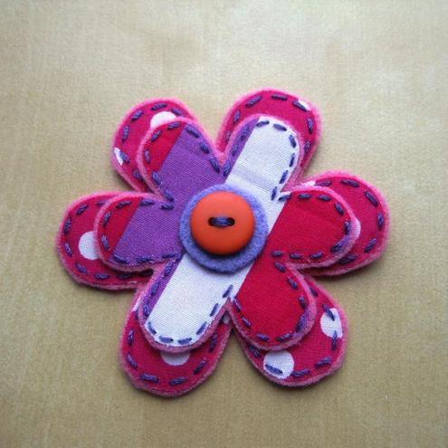 fabric flower brooch - hot pink spots and stripes