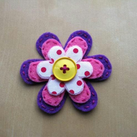 spotty fabric flower brooch