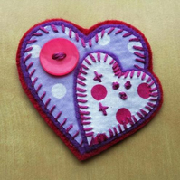 double heart brooch