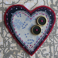 fabric nautica heart brooch - navy spotty